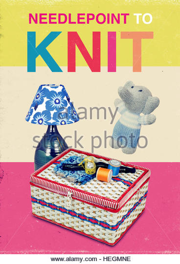 Needlepoint to knit mid century retro kitsch vintage lifestyle - Stock Image