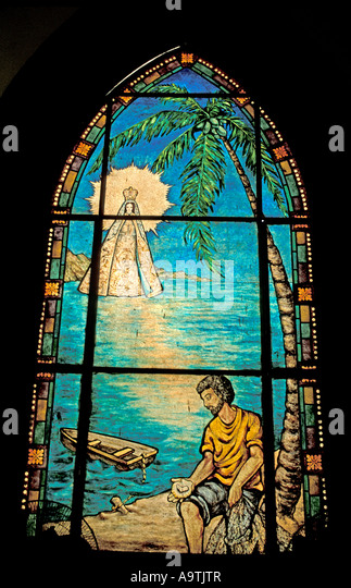 Isla Margarita island Venezuela stained glass window Basilica Virgin del Valle cathedral religious shrine tourist - Stock Image