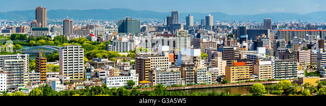 Skyline of Osaka city in Japan - Stock Image