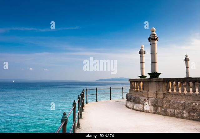 Adriatic Sea scenic view from quay of Opatija. Popular touristic destination  Croatian coast. - Stock Image