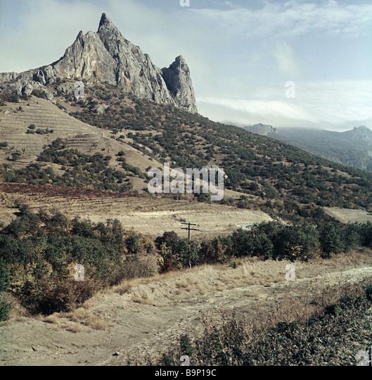 A rock Sudak Koktebel route Crimea - Stock Image