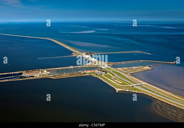The Netherlands, Den Oever, Aerial of IJsselmeer Dam also called Afsluitdijk. Locks. - Stock Image