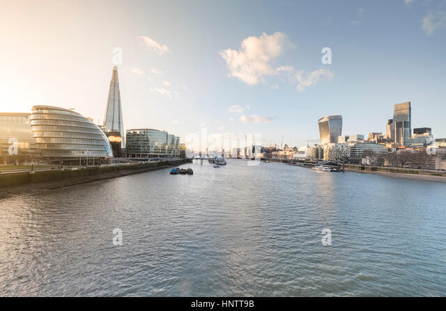 A cityscape of London, England, including the More London Development. - Stock Image