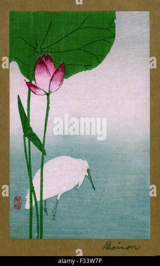 Hasu ni shirasagi translates toWhite heron and lotus. Japanese Woodcut print by the artistBaison, fl.dates - Stock Image