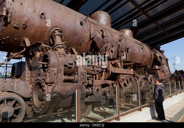 Gyeonggui steam train destroyed during the Korean War, displayed at Imjingak - DMZ, South Korea - Stock Image