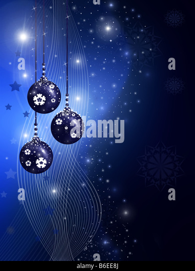 Blue christmas illustration with balls stars and snowflakes - Stock-Bilder