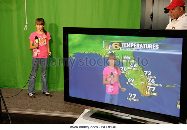 Miami Beach Miami Florida Beach Convention Center centre Health & and Fitness Expo girl child weather Channel - Stock Image