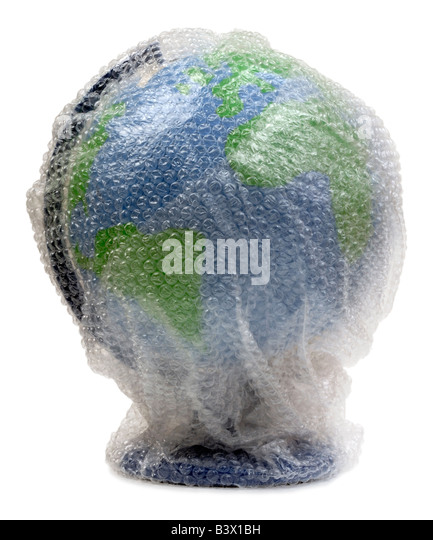 Globe wrapped in bubble wrap - Stock Image
