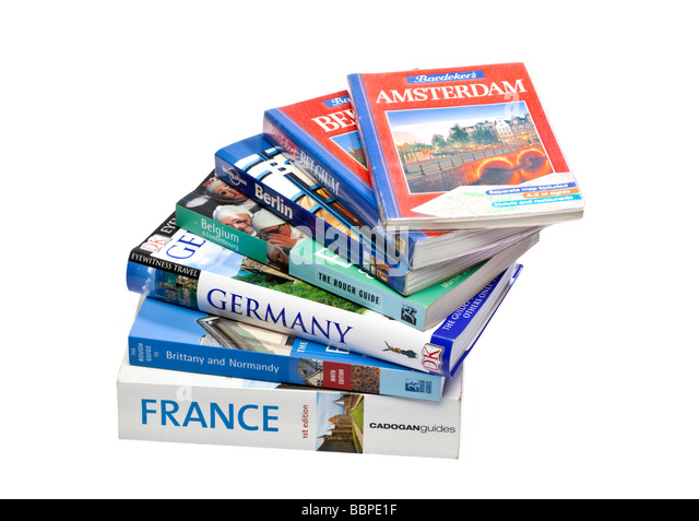 Stack of European travel guide books on white - Stock-Bilder