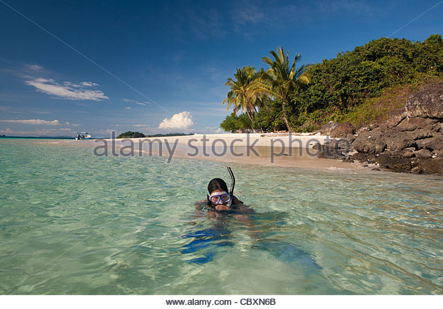 Scuba diving at Granito de Oro, a small island east of Isla de Coiba national park, Pacific ocean, Veraguas province, - Stock-Bilder
