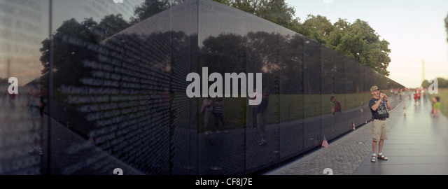 Panoramic photo of the Vietnam War at the Memorial in Washington, D.C. district of columbia travel tourism wall - Stock Image