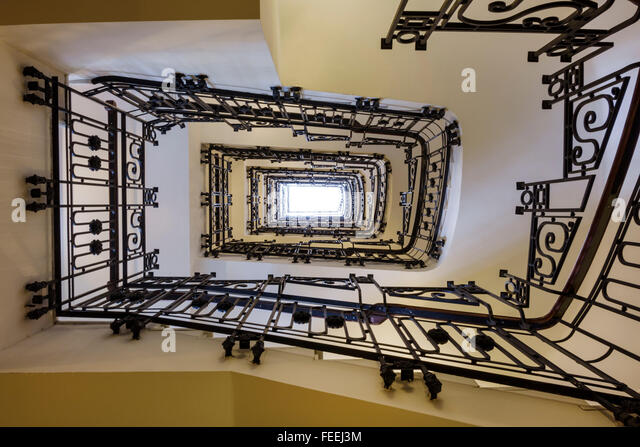 Madrid Spain Europe Spanish Hispanic Chamberi Plaza Alonzo Martinez Innside Madrid Genova hotel spiral staircase - Stock Image