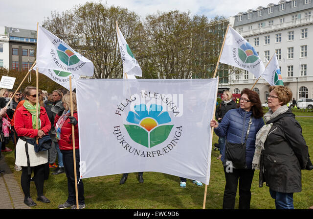 protests by the striking nurses union in austurvollur public square Reykjavik iceland - Stock Image