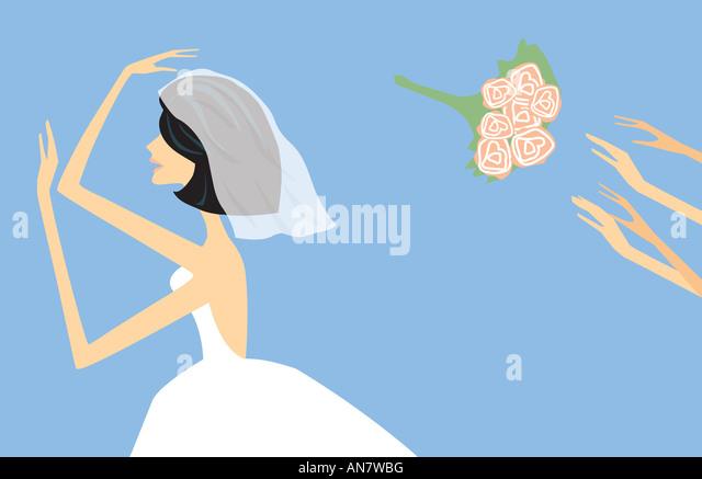 Catching the bridal wedding bouquet - Illustration - Stock-Bilder