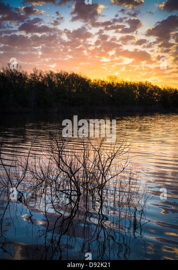 Quanah Parker Lake in Wichita Mountains Wildlife Refuge, Oklahoma - Stock-Bilder