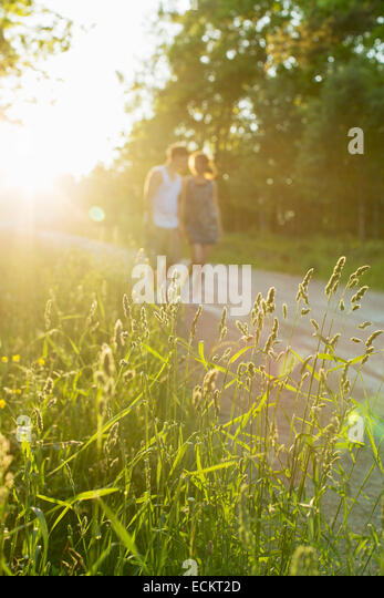 Grass growing in field with couple walking in background - Stock Image