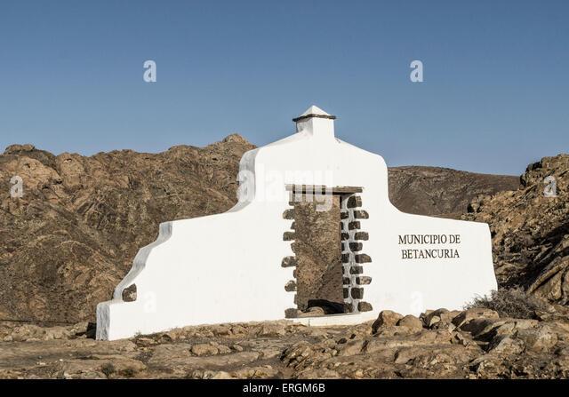 Sign Municipio de Betancuria, Degollada de Los Granadillos, Viewpoint,  Fuerteventura Canary Islands, Spain - Stock Image