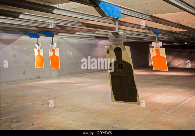 Las Vegas, Nevada - Targets at the Discount Firearms + Ammo indoor shooting range. - Stock Image
