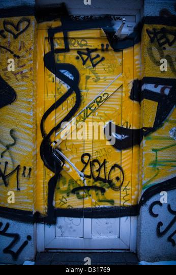 black anti graffiti paint stock photos black anti. Black Bedroom Furniture Sets. Home Design Ideas
