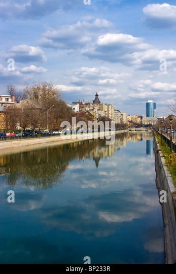 Bucharest - view over Dambovita river in a clear spring day - Stock Image