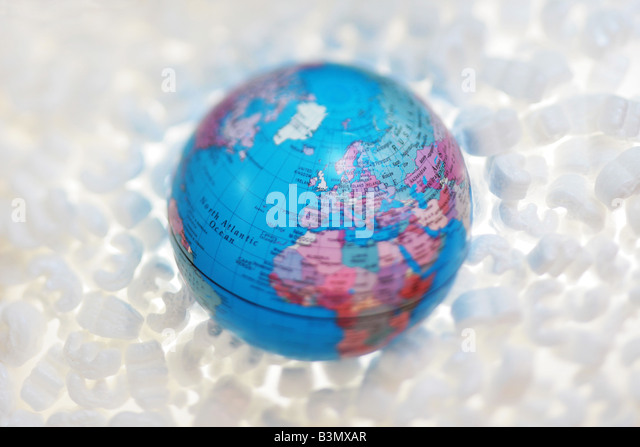 globe in protective packaging - Stock Image