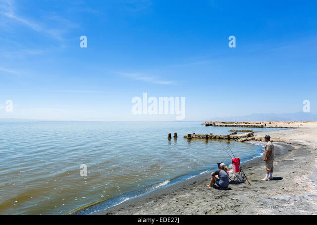 Fishermen by the the Salton Sea at Bombay Beach, Imperial County, California, USA - Stock Image