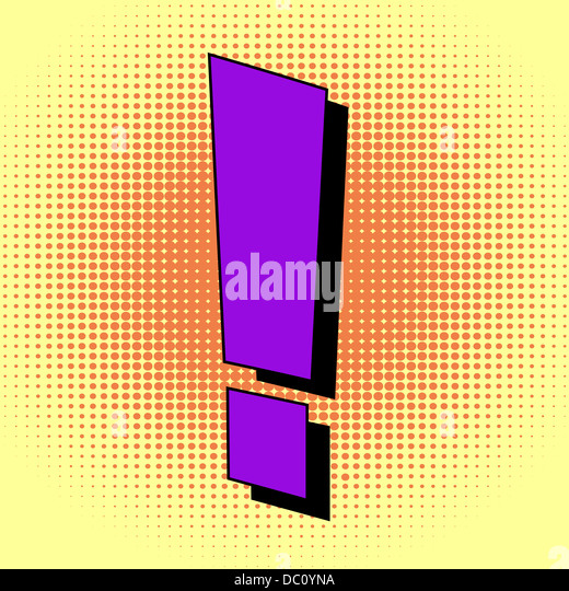 Exclamation mark in pop art style - Stock Image