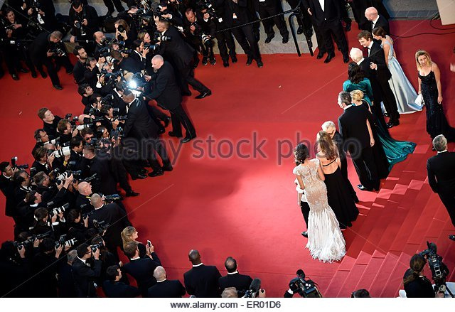 epa04759253 Cast members leave the screening of 'Youth' during the 68th annual Cannes Film Festival, in - Stock Image