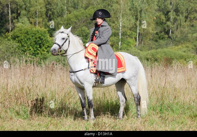 Napoleon Bonaparte on his beautiful white horse Marengo in Borodino, Russia - Stock Image