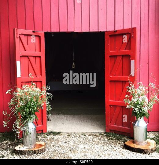 red barn doors. Red Barn Doors - Stock Image