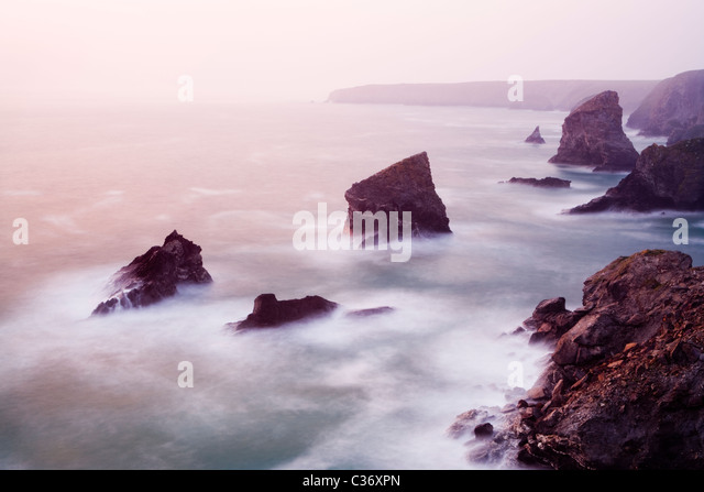 Bedruthan Steps, Cornwall, UK. - Stock-Bilder