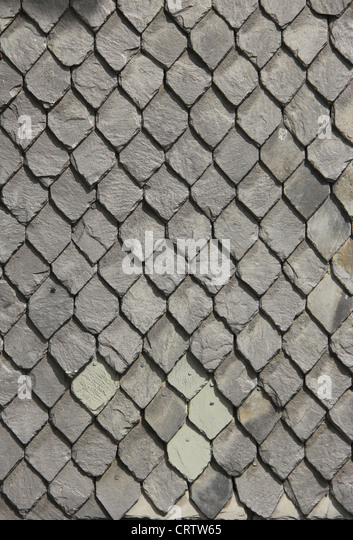 wall with decoratively slate - Stock Image
