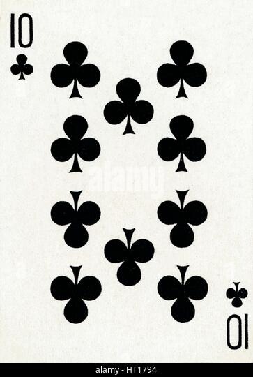 10 of Clubs from a deck of Goodall & Son Ltd. playing cards, c1940. Artist: Unknown. - Stock Image