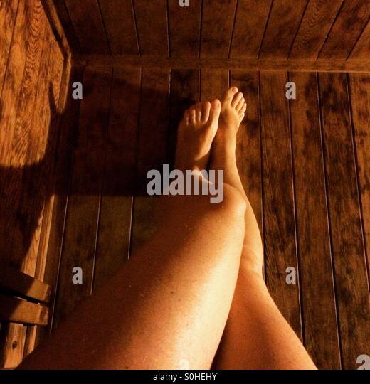 Sauna legs - Stock Image