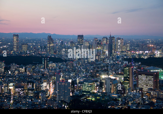 Japan, Asia, Tokyo, city, sunset, architecture, big, buildings, city, downtown, huge, lights, metropolis, skyline, - Stock-Bilder
