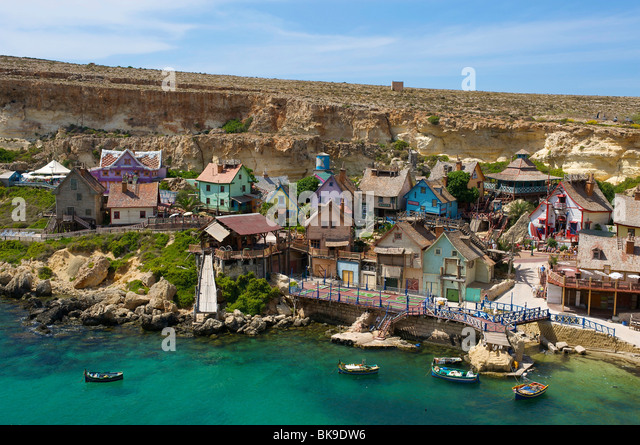 Popeye village in Malta, Europe - Stock-Bilder