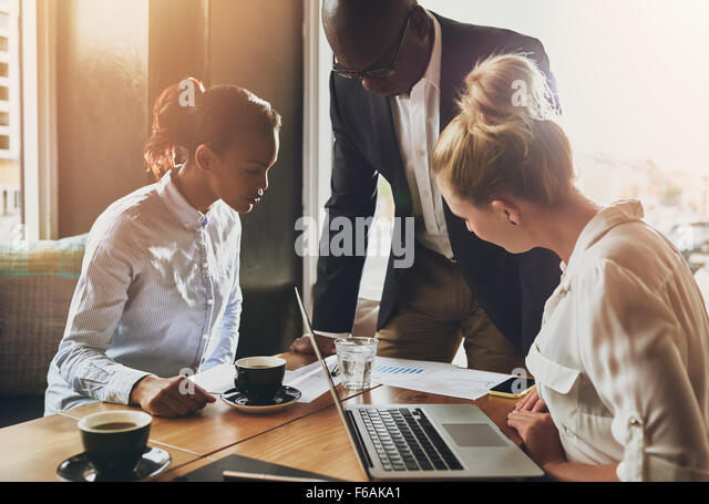 Group of business people, Entrepreneur concept, black business man explaining business plan - Stock Image