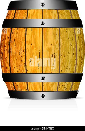 Wooden barrel vector illustration on white background - Stock-Bilder