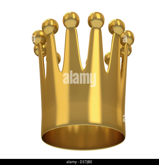 Small crown or coronet from below on white background - Stock Image