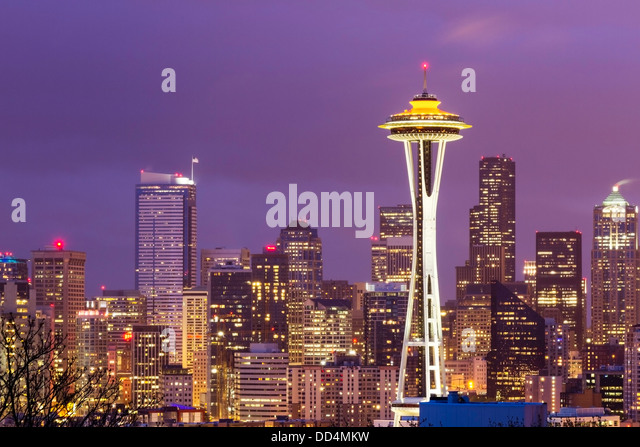 Seattle, Washington City Skyline with the Space Needle - Stock Image