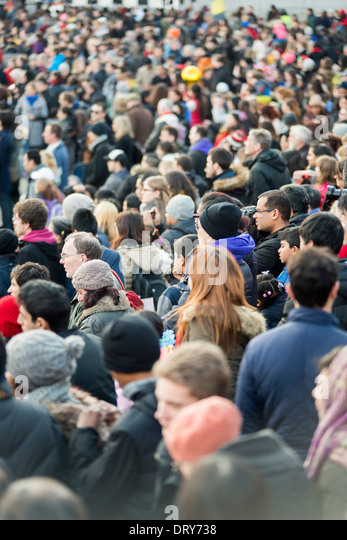 Crowd of people on Trafalgar Square,London,England - Stock Image