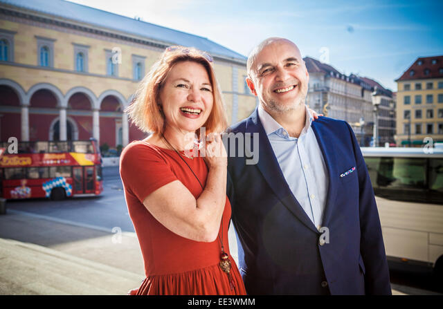 Portrait of happy senior couple, Munich, Bavaria, Germany - Stock-Bilder