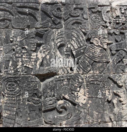 Mayan god carving stock photos