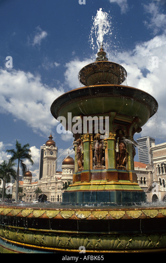 Malaysia Kuala Lumpur Merdeka Square fountain Sultan Samed Building - Stock Image