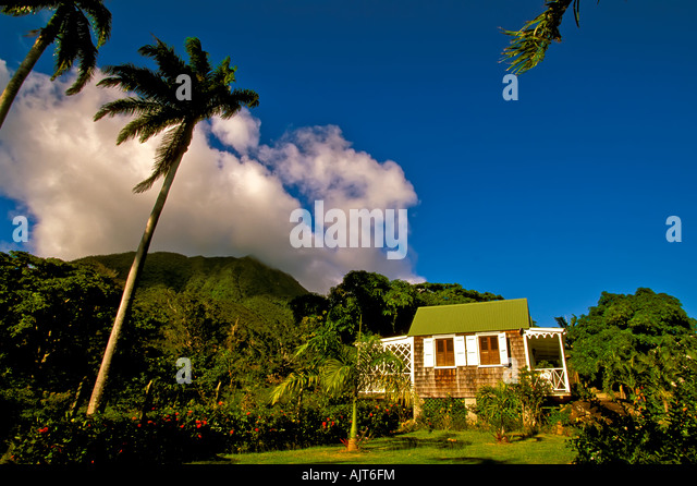 Nevis Hermitage Plantation hotel, Caribbean island Nevis colorful traditional wood house, - Stock Image