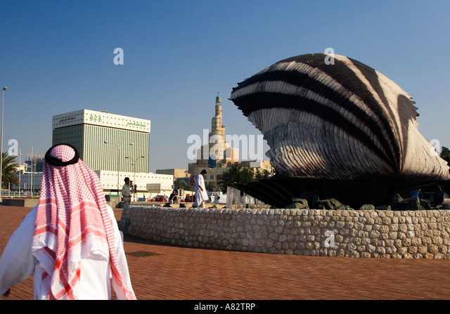 Qatar Doha oyster fountain with pearl along the shore of Doha - Stock Image