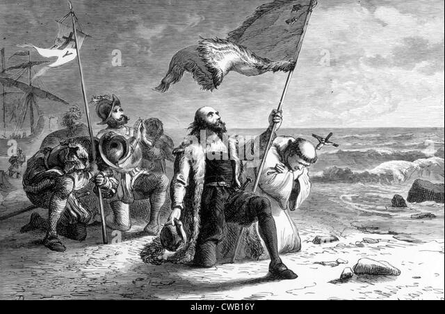 Christopher Columbus landing in the New World, 1492 - Stock-Bilder