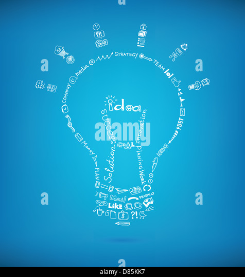 Vector light bulb created by many hand drawn business sketch and doodles design elements on blue background. - Stock Image