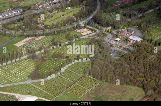 aerial view of a graveyard cemetery and crematorium - Stock Image