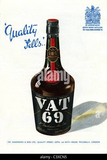 Advertisement for VAT 69, from The Festival of Britain guide, published by HMSO. London, UK, 1951 - Stock-Bilder
